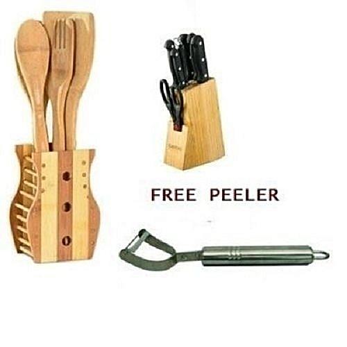 Master Chef Knife Set - + Wooden Kitchen Utensils Set And Potato Peeler