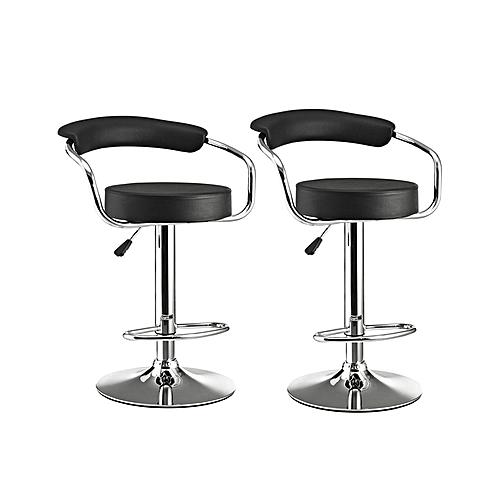 Black Chrome Bar Furniture Stool - Set Of 2
