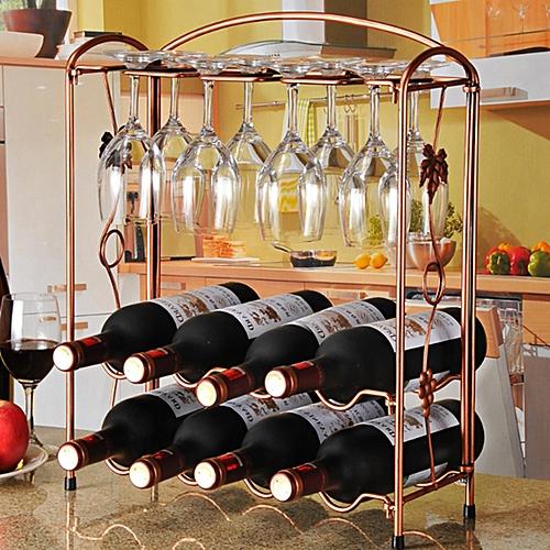 Iron Wine Bottle Rack Holder Storage Table Top Kitchen Bar Organizer