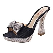 dbdf2e6bb68 Women High Heel Leather Slippers Diamond Bowknot Fish Mouth Sandals  Platform Thin Heel Sexy Lady Summer