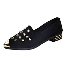 47f823ff169 Ladies Women  039 s Shoes Pointed Toe Rivet Casual Shoes Low Heel Flat Shoes