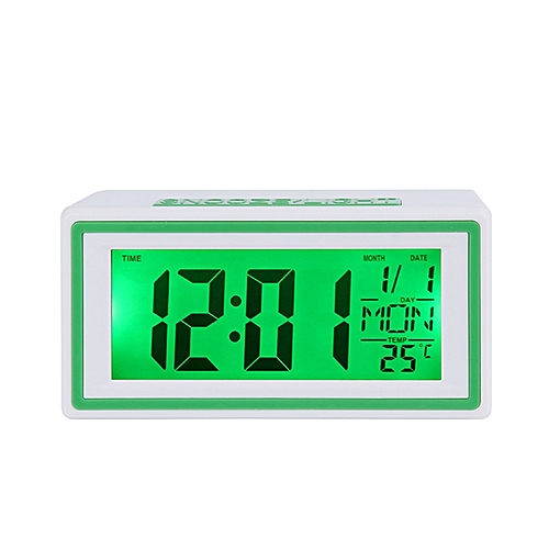 Universal LCD Digital Electronic Alarm Clock With Sound-controlled Backlight And Temperature Display