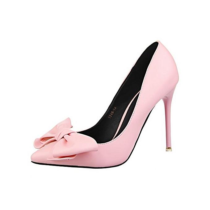 Fashion Women s High Heels Pointed Toe Cute Bowknot Dress Pumps-Pink ...