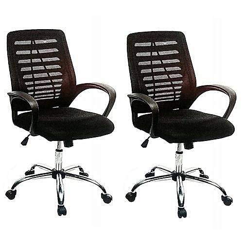 Executive Mesh And Fabric Swivel Office Chair - Set Of 2 Chairs