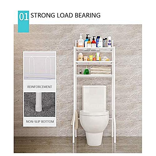 3 Tier Over Toilet Bathroom Storage Rack Shelf Organizer Space Saver Black/White