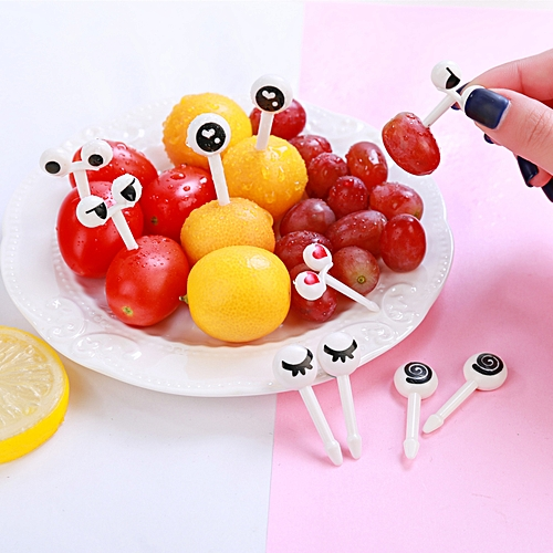 10pcs Mini Cartoon Ant Eye Fruit Fork Set For Party Cake Dessert Food Toothpick Novelties Toys
