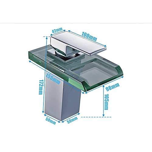Auralum LED Glass Faucet Waterfall Washbasin Mixer 3 Color Change