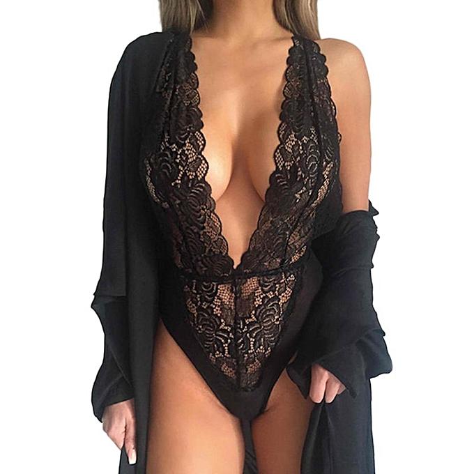 f5f0f69b9 One Piece Lingerie Hollow Floral Lace Halter Backless Teddies Nightwear -  Black