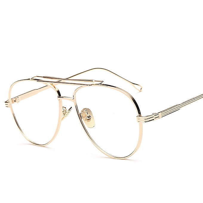 f2dfc763fc9 Clear Lens Male Spectacle Frames For Men Retro Flat Top Designer Eye  Glasses Man Eyewear Frames Women Big-Gold