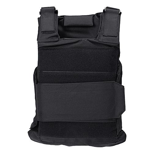 Body Bulletproof Vest Front Back Plates Armor Tactical Jacket Guard Security Kit Black
