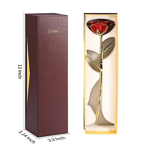 24ct Gold Dipped Red Rose, Artificial Flower Foil Trimmed Long Stem With Clear Display Stand Gift In Box For You