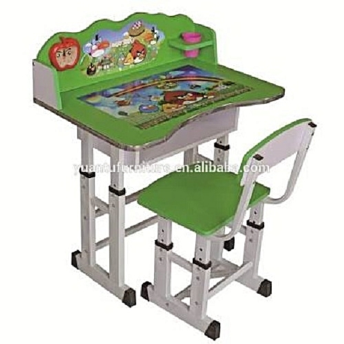 Fancy School Desk And Chair For Kids Green
