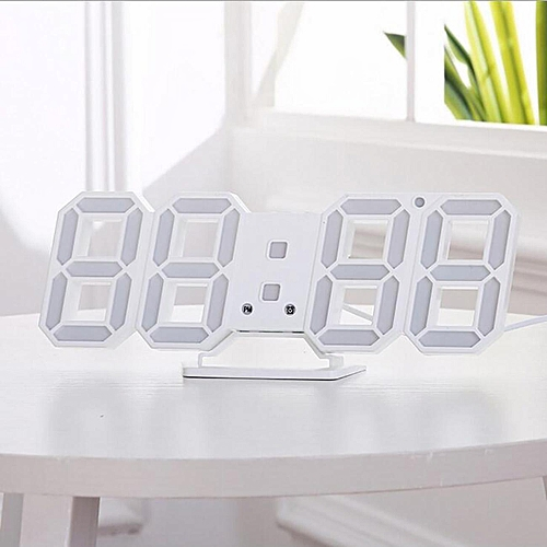 3D White Modern Digital LED Wall Hanging Clock Alarm Snooze 12/24 Hour Display