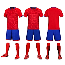 Short Sleeve Men  039 s Football Soccer Jersey Suit Blank-5021 Red 01466f522