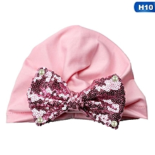 1f5fe54b1b0 Eleganya1 PC Baby Lovely Sequins Bow Hood Simple Soft Small Cap