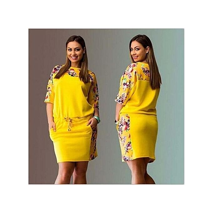 92c088603a256 Women Plus Size Big Size Large Size Dress Autumn O-Neck Half-sleeve Cacual