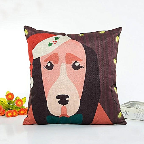 Houseworkhu Christmas Cartoon Pillow Case Sofa Waist Throw Cushion Cover Home Decor MR -Multicolor
