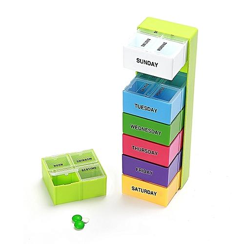 KCASA KC-JS2804 7 Days Pill Box Organizer Portable Weekly Travel Medicine Storage Case