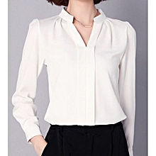 85636d48411af1 Fashion Women Office Formal Plain Sexy Long Sleeve Shirt - White