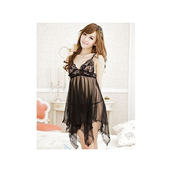 9dfbd39da NightGown Nightclothes Ladies Nightie Nightwear Nightdress Lingerie Women  Sleepwear - Black