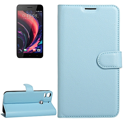 For HTC Desire 10 Pro Litchi Texture Horizontal Flip Leather Case With Holder & Card Slots & Wallet(Blue)