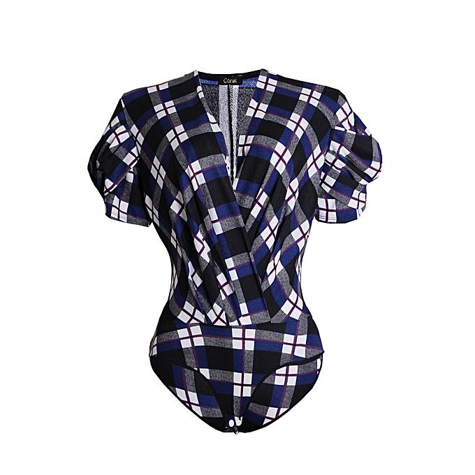 Canill Short Sleeve Drape Bodysuit Blouse - Multicolour  576e18fa5