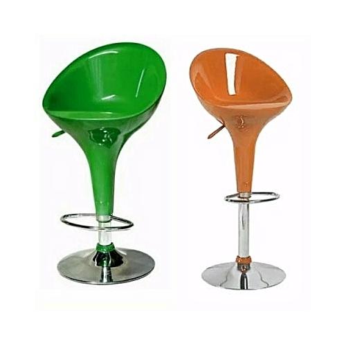 Height Adjustable Plastic Swivel Bar Stool - Set Of 2 - Orange & Green