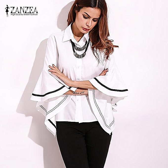 40066d71f1 ZANZEA Women Stylish Ruffled Long Sleeve Shirt Blouse Elegant Striped  Turn-down Collar Casual Loose