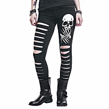5fe28ed60f3d1 Women's Skull Print Cutout Leggings Stretchy Workout Pants Yoga Active  Tights Black