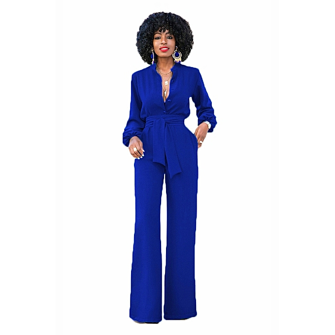 6c4c2de656d5 Women s Sexy Solid Jumpsuits Fashion V Neck Buttons Wide Leg Long Sleeve  Pockets High Waisted Belted