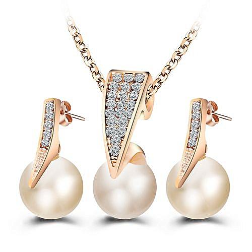 Women Fashion Sapphire Pearl Earrings Necklace Set NJ087