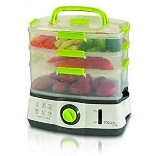 Beautiful Healthy Meals 3-Tier Electric Steamer - 9 Litre - Lockable Containers - Steama By Sensio Home, UK - Cooks Healthy Food Fast With Instant Steam Function