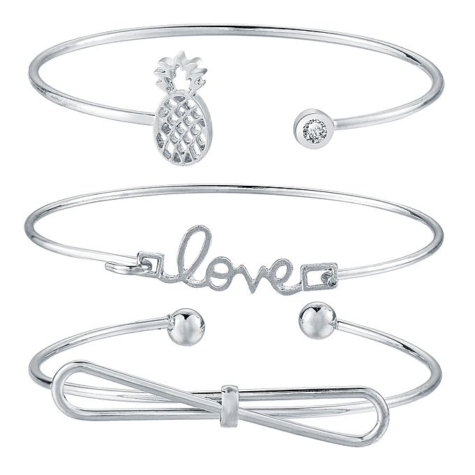 Sedectres Fashion Women Silver Punk Cuff Bracelet Bangle Chain Wristband  Jewelry Set-Silver 77dcceab7b
