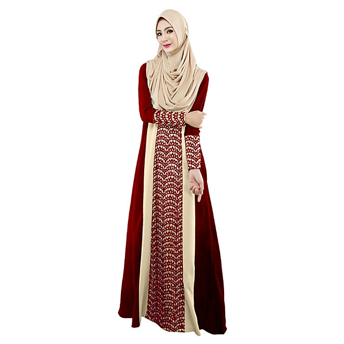 b2a432f39 Fashion Muslim Women Long Sleeve Dubai Lace Dress Maxi Abaya ...