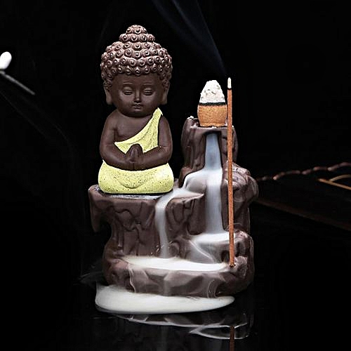 Ceramic Small Buddha Cone Smoke Back-flow Incense Burner Stick Holder Decoration (Yellow)