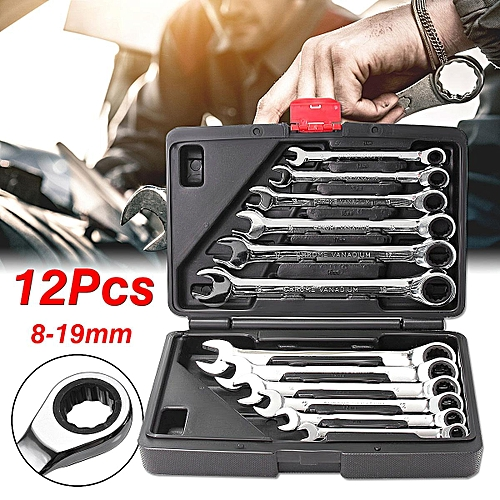 12Pcs Metric Ratchet Gear Spanner Wrench Set CR-V STEEL Canvas 8-19mm