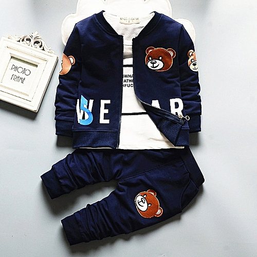 3pcs Baby Boys Clothes Children Clothing Sets 2017 Kids Tracksuits For Girls Sets-navy Blue