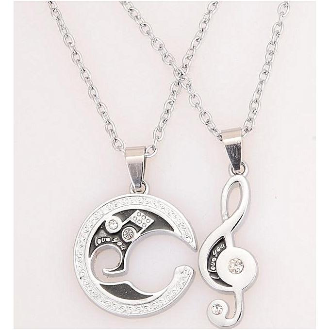 aca72ae1a Afriashop Necklaces 2 Pcs Men Women Lover Couple Necklace I Love You Heart  Shape Pendant Chain