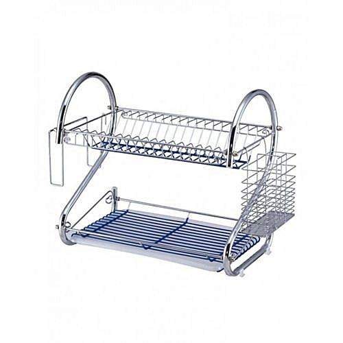 2-Layer Dish Drainer - Silver 16ich