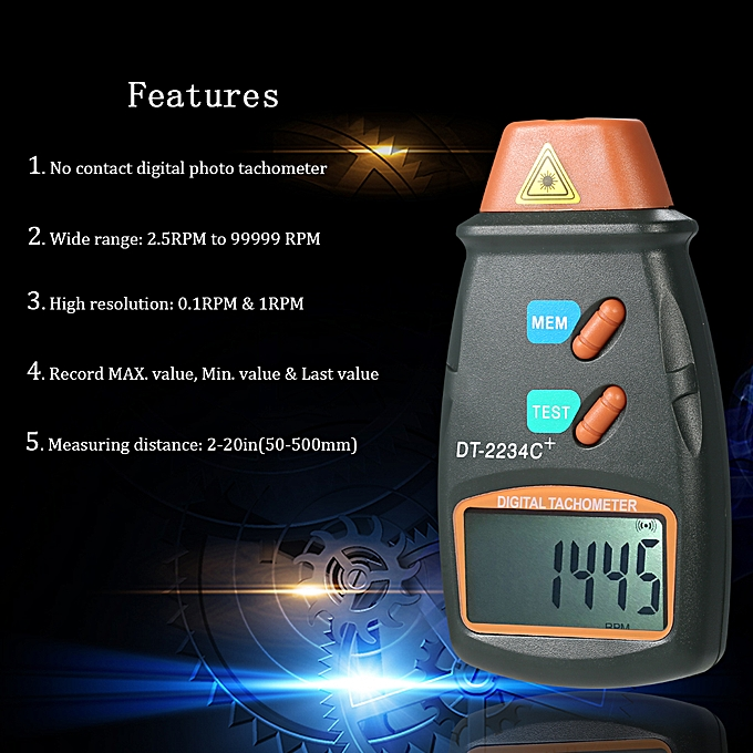 Handheld Digital Photo Tachometer Laser Non-Contact Tach
