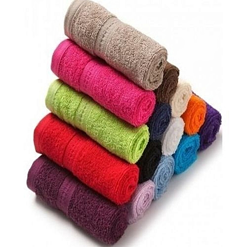 Quality Multi Colored Face Towel- 12 Pieces (Colour May Vary)