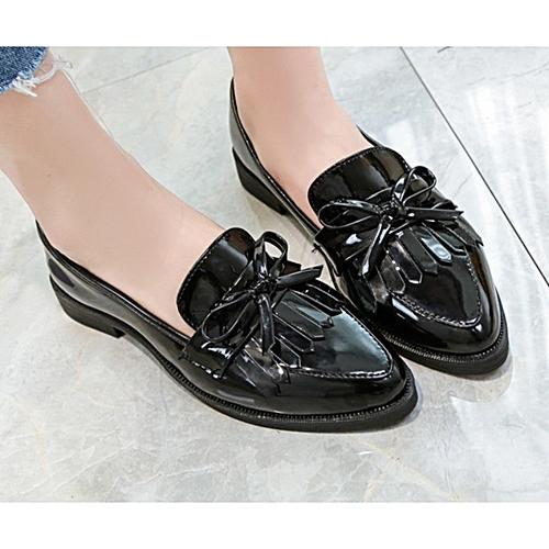Ladies Bow Tassel Flat Loafers Shoe - Black