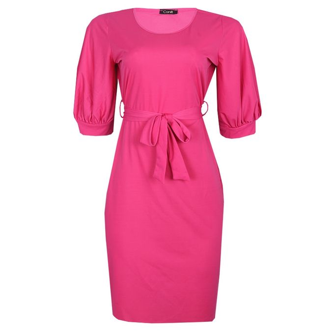 Canill Bishop Sleeve Belted Midi Dress - Pink | Buy online | Jumia ...