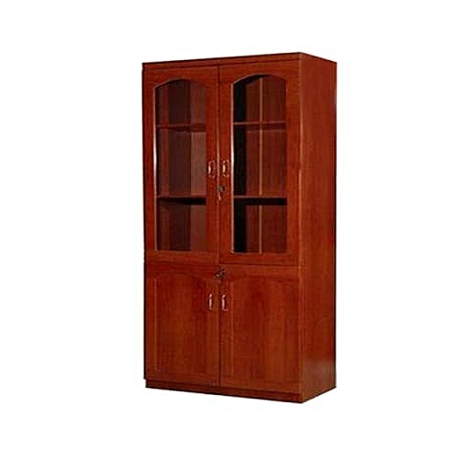 2-Door Wooden & Glass Bookshelf