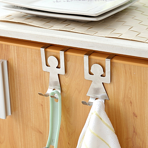 Watermalend 2Pcs Stainless Steel Lovers Shaped Hook Kitchen Hanger Clothes Storage Rack Tool