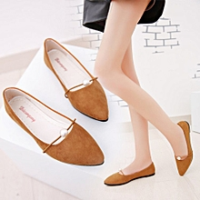 Solid Suede Flat Heel Pearl Flat Heel Pointed Shoes 79be77f405f7
