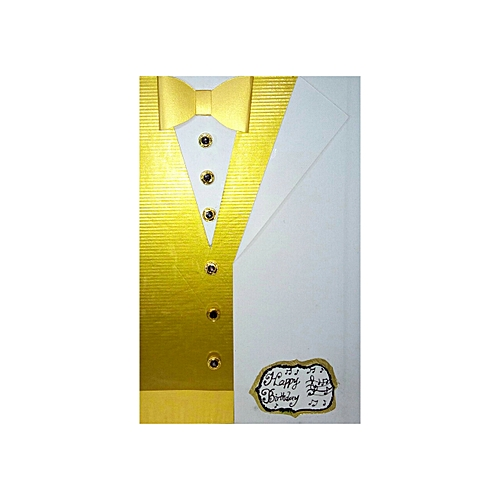 Handmade Men's Inner Jacket With Blazer And Bow Tie Birthday Greeting Card - Gold