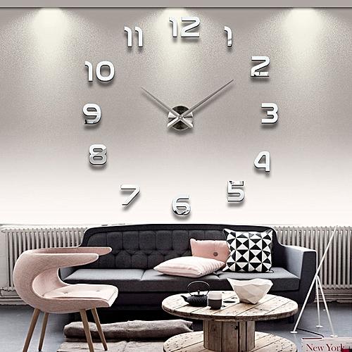 """Wall Clock (37"""" Adhesive DIY Acrylic Silver Wall Clock)"""