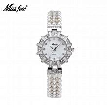 5991555d2c8 Miss Fox Nature Pearl Watch Women Rhinestone Solar Women Dress Watch Fashion  Diamond Pearl Chain Band