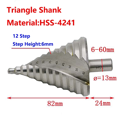 Triangle Shank Step Cone Drill Bit Hole Cutter HSS 6-60mm